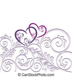 Hintergrund aus Ornamenten mit Herz - Hintergrund aus...