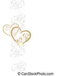 Hintergrund aus Ornamenten mit zwei Herzen