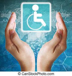 hintergrund, behinderten, ikone, hand, medizin