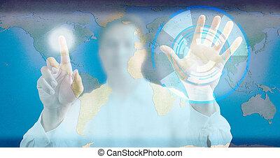 hintergrund, berühren, mann, technologie, schirm, blaues, modern, drücken