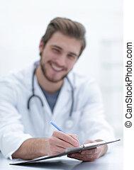 hintergrund, bild, von, a, doktor, schreibende, heraus, a, verordnung