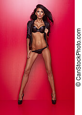 hintergrund., brünett, damenunterwäsche, posierend, schwarze frau, rotes , schöne , leder, aus, sexy