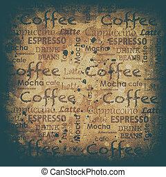 hintergrund, coffe, grunge, text