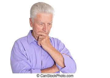 hintergrund, denken, freigestellt, mann, weißes, älter
