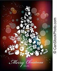 hintergrund, elemente, stilisiert, weihnachten, bunte