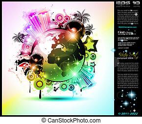 hintergrund, elements., klub, disko, international, tanz, ideal, design, werbung, los, flieger, musik, ausschüsse, ereignis, plakate