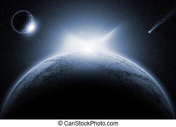 hintergrund, erdichtet, planeten, raum