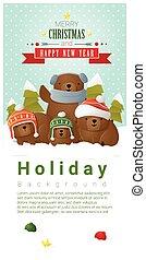 hintergrund, familie, bär, 1, fröhlich, jahr, neu , weihnachten, glücklich