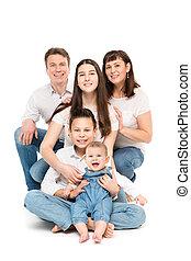 hintergrund, familie, drei, eltern, porträt, baby, studio, weißes, kinder, glücklich