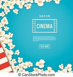 hintergrund., film, lies, popcorn, haufen, blaues