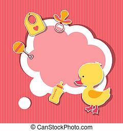 hintergrund, fotorahmen, mit, wenig, reizend, baby, duck.