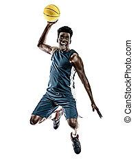 hintergrund, freigestellt, afrikanisch, basketball, junger mann, weißes, spieler