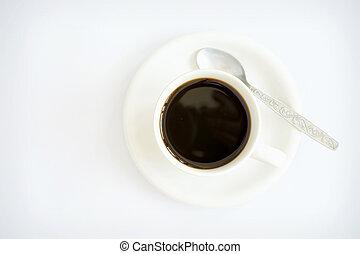 hintergrund, freigestellt, becher, bohnenkaffee, weißes