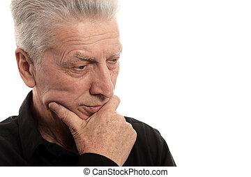 hintergrund, freigestellt, mann, weißes, älter