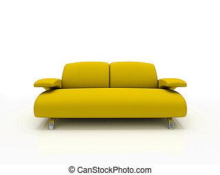 hintergrund, gelber , isoliert, 3d, weißes sofa, modern