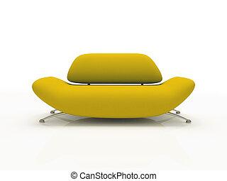 hintergrund, gelber , isoliert, 3d, weißes sofa