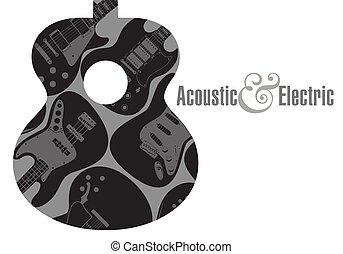 hintergrund, gitarre, plakat, elektrisch, akustisch