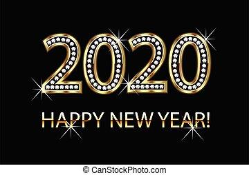 hintergrund, gold, vektor, neu , 2020, glücklich, jahr