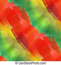 hintergrund, grün, gelber , rotes , beschaffenheit, aquarell, seamless, abstrakt, muster, farbe, kunst, tapete, farbe papier
