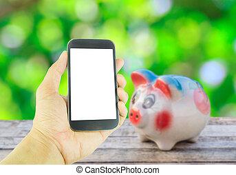 hintergrund, hölzern,  Hand, Telefon, Schweinchen, Besitz, Tisch, klug,  bank