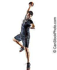 hintergrund, handball, gericht, weißes, silhouette, junger mann, spieler, freigestellt, schatten