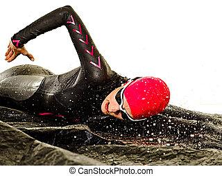 hintergrund, ironman, schwimmer, triathlete, weißes, schwimmender, frau, triathlon, freigestellt, badeanzug
