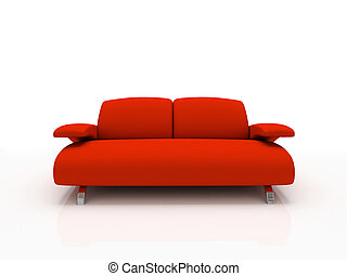 hintergrund, isoliert, 3d, weiß rot, sofa, modern