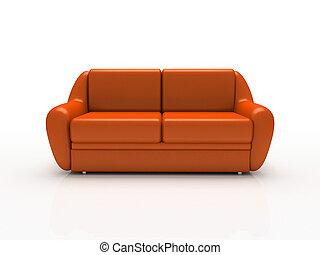 hintergrund, isoliert, 3d, weiß rot, sofa