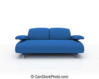hintergrund, isoliert, 3d, weißes, blaues sofa, modern