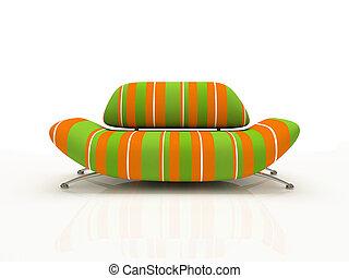 hintergrund, isoliert, 3d, weißes sofa, gestreift