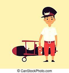 hintergrund, junge, motorflugzeug, kind, pilot, illustration., freigestellt, wohnung, vektor