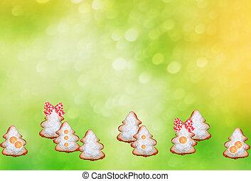 hintergrund, keks, bilder, in, der, form, von, weihnachtsbäume