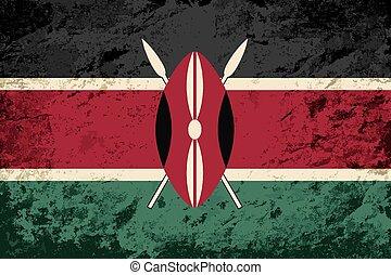 hintergrund., kenianer, grunge, fahne