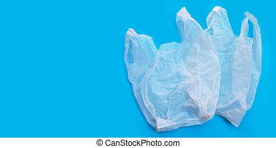 hintergrund., kopieren platz, säcke, blaues, plastik, weißes