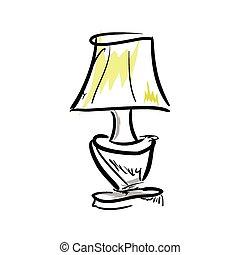 hintergrund., lampe, weißes, karikatur