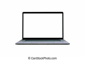 hintergrund., laptop-computer, freigestellt, weißes