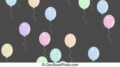 hintergrund, mehrfach, grau, gegen, fliegendes, luftballone