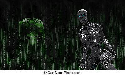 hintergrund, metallisch, cyborg, robotic, schwarz