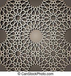 hintergrund, mit, 3d, seamless, muster, in, islamisch, stil,...