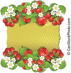 hintergrund, mit, erdbeer