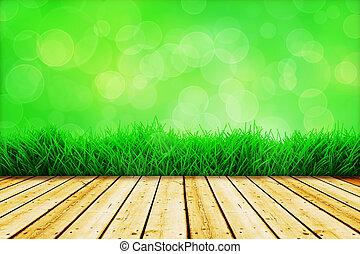 hintergrund, mit, frisch, grünes gras, und, hölzerner fußboden