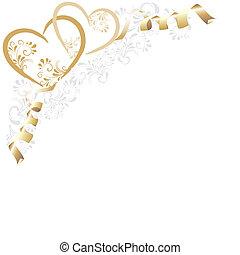 Hintergrund mit goldnen Herzen - Hintergrund mit Ornamenten...