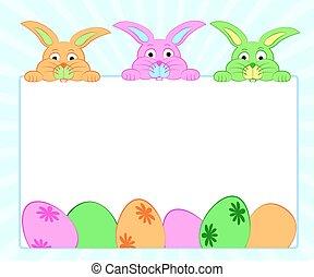 hintergrund, mit, kaninchen, und, eier, für, ostern, .