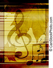 hintergrund, mit, musikalisches, symbole