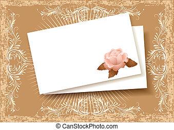 hintergrund, mit, papier, und, rose