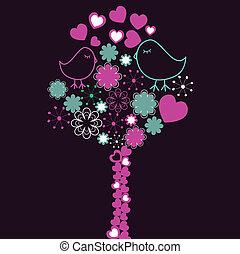 hintergrund, mit, rosa, baum, und, vögel
