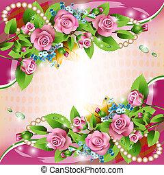 hintergrund, mit, rosafarbene rosen