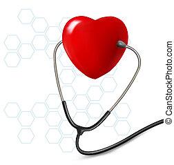 hintergrund, mit, stethoskop, gegen, a, heart., vector.