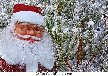 hintergrund, mit, weihnachtsmann, und, verschneiter , weihnachtsbäume