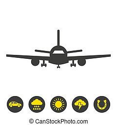 hintergrund., motorflugzeug, weißes, ikone